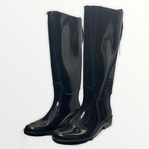 Coach black gold accents rubber rain boots